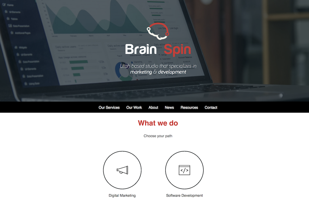 BrainSpin's main website page with logo, text, icons, etc.